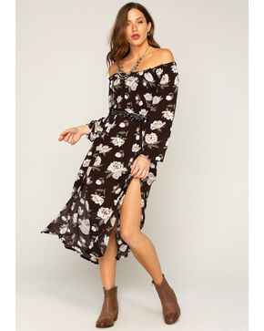 Shyanne® Women's Floral Off The Shoulder Maxi Dress    , Black, hi-res