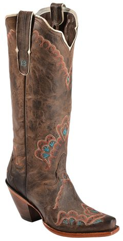 Tony Lama Black Label Tall Cowgirl Boots - Snip Toe, Chocolate, hi-res