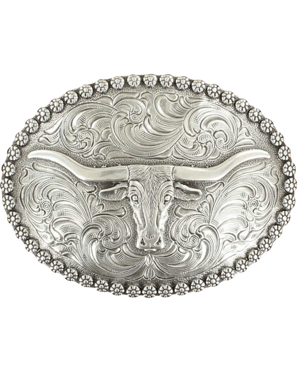 Nocona Genuine Silver Plated Steer head oval buckle, Silver, hi-res