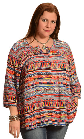 New Direction Sport Women's Hidden Placket Print Shirt - Plus Size, Multi, hi-res
