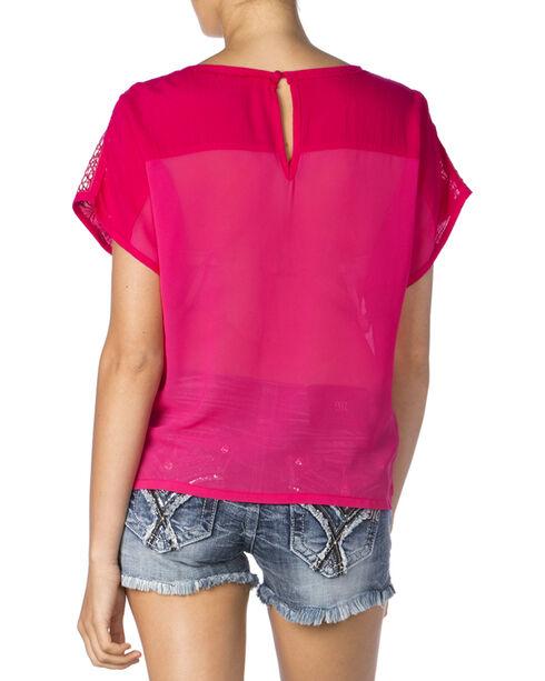 Miss Me Women's Hot Pink Mesh Cap Sleeve Top, Hot Pink, hi-res