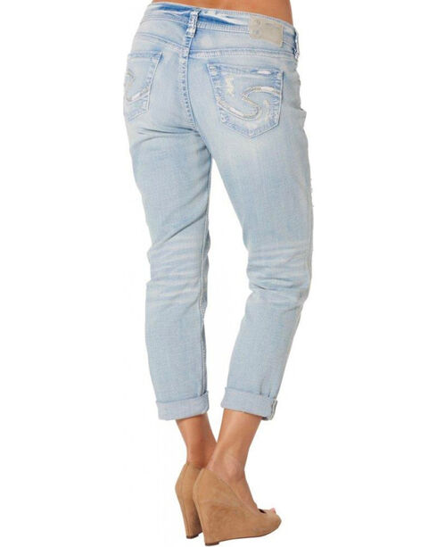 Silver Women's Light Wash Boyfriend Jeans, Denim, hi-res
