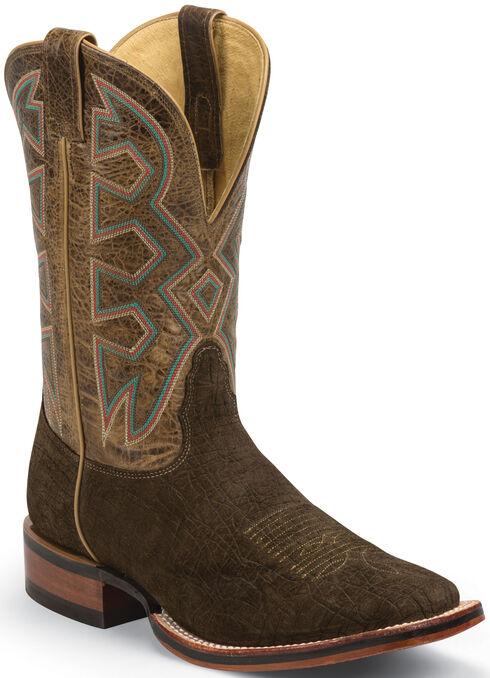 Nocona Brown Hippo Print Let's Rodeo Cowboy Boots - Square Toe , Brown, hi-res