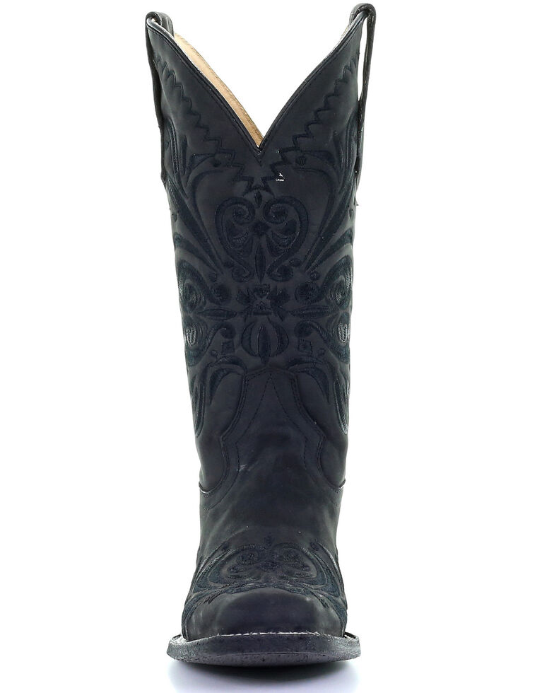 Corral Women's Black Embroidery Western Boots - Square Toe, Black, hi-res