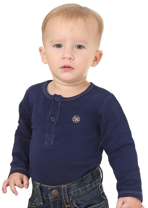 Wrangler Infant Navy Snap Placket Long Sleeve Bodysuit, Navy, hi-res