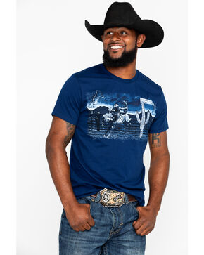 Panhandle Men's Desert Bronc Rider Short Sleeve T-Shirt, Navy, hi-res