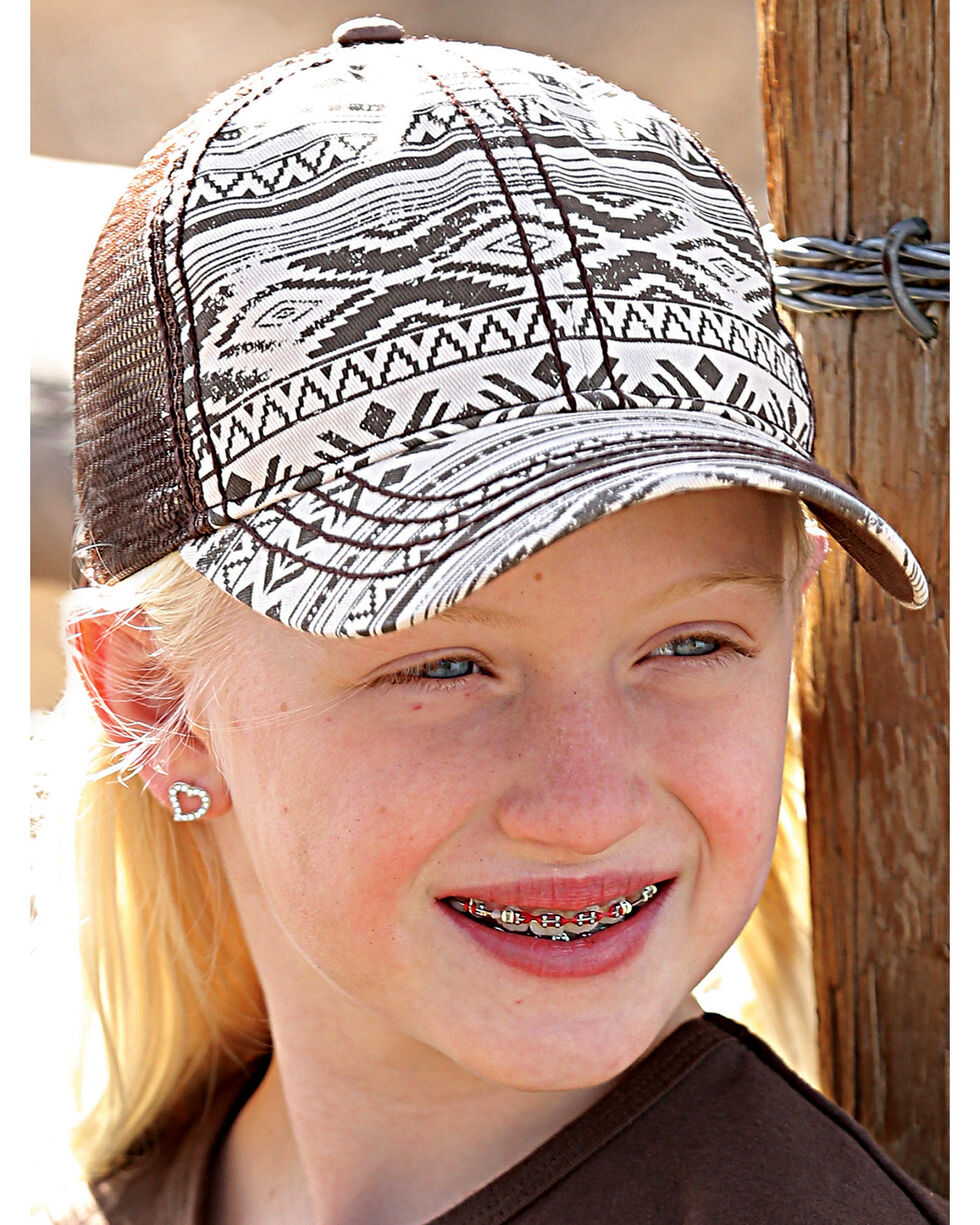 Cruel Girl Girls' Brown Aztec Printed Trucker Cap , Brown, hi-res