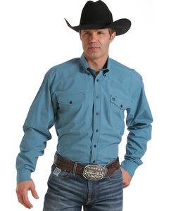 Cinch Men's Light Blue Long Sleeve Small Plaid Shirt , Light Blue, hi-res