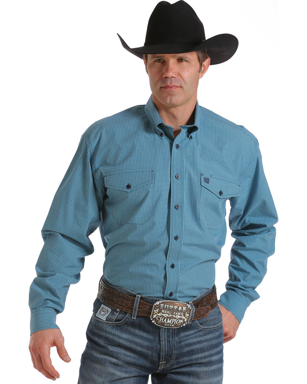 Cinch Men's Light Blue Long Sleeve Small Plaid Shirt , , hi-res