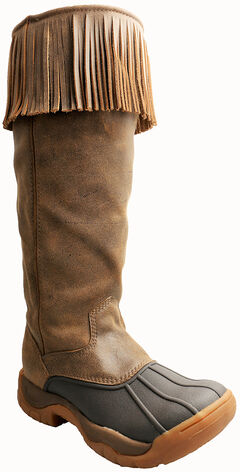 """Twisted X Women's 16"""" Guide Boots - Rubber Round Toe, Brown, hi-res"""