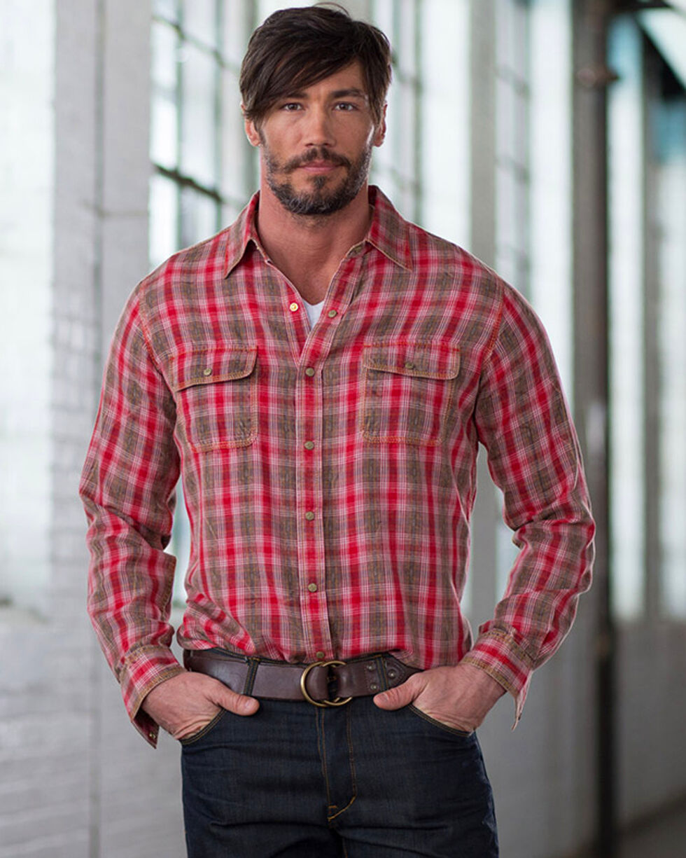 Ryan Michael Men's Ruby Ombre Plaid Shirt, Red, hi-res