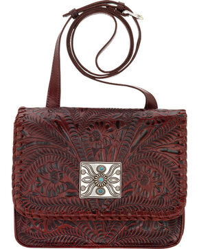 American West Red Grand Prairie Crossbody Flap Bag, Red, hi-res