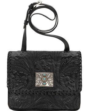 American West Black Grand Prairie Crossbody Flap Bag , Black, hi-res