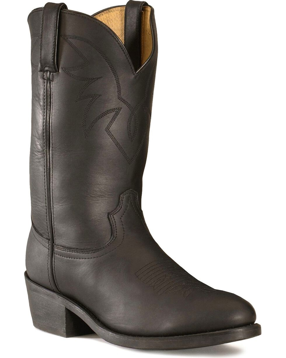 Durango Men's Oiled Leather Pull-On Western Boots - Medium Toe, Black, hi-res
