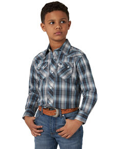 Wrangler Retro Boys' Multi Plaid Long Sleeve Western Shirt , Blue, hi-res