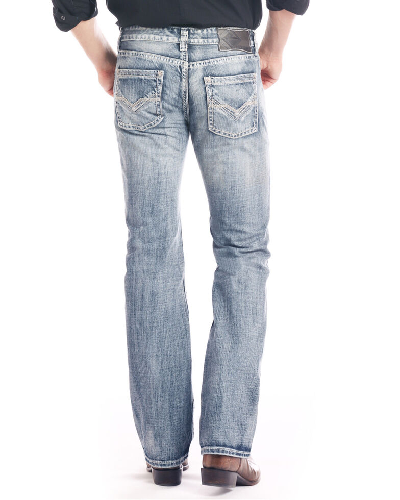 Rock & Roll Cowboy Men's Double V Stitch Relaxed Straight Jeans , Blue, hi-res