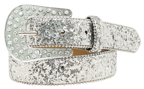 Ariat Girls Cluster Crystal Rhinestone Belt, Silver, hi-res