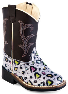 Old West Toddler Girls' Colorful Hearts Western Boots - Square Toe , Multi, hi-res