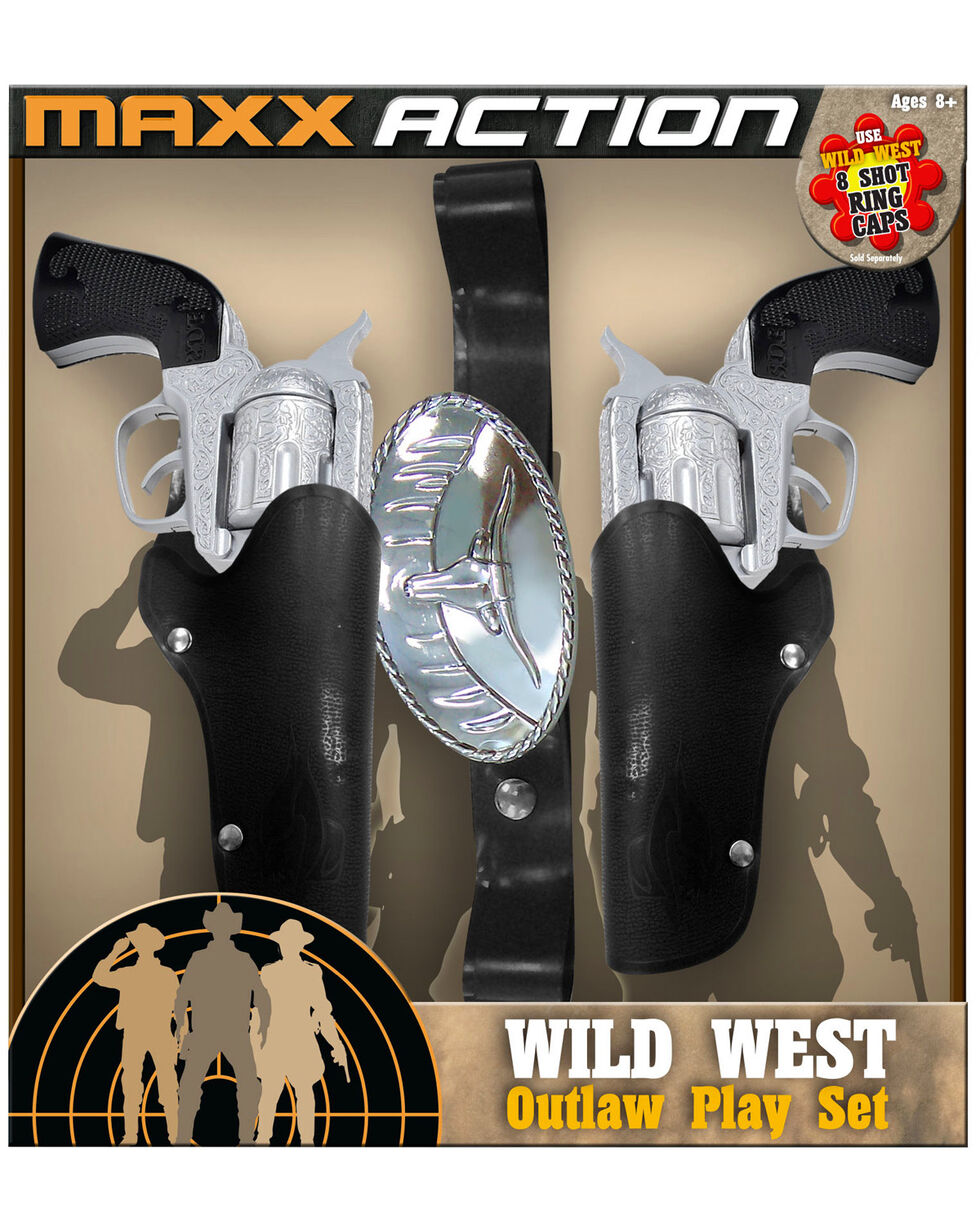 Maxx Action Cap Pistol Combo Wild West Outlaw Play Set, Silver, hi-res