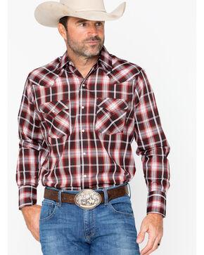 Ely Cattleman Men's Western Woven Textured Plaid Shirt , Burgundy, hi-res