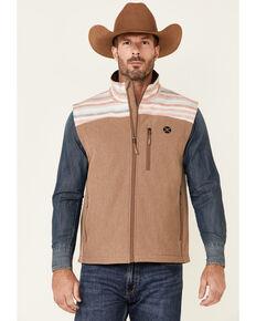 HOOey Men's Tan Striped Color-Block Zip-Front Softshell Vest , Tan, hi-res