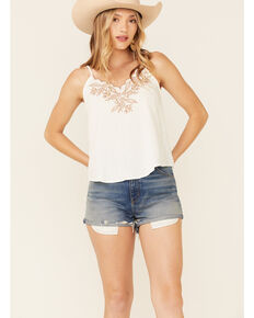 Blu Pepper Women's Ivory Embroidered Cami , Off White, hi-res