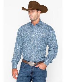 8c666fe6 Roper Mens Large Paisley Print Snap Long Sleeve Western Shirt , Blue, hi-res