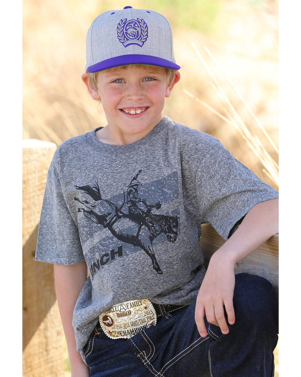 Cinch Boys' Bucking Bronco Graphic Tee, Grey, hi-res