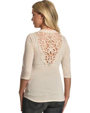 Petrol Women's Crochet Lace Back Long Sleeve T-Shirt, Ivory, hi-res