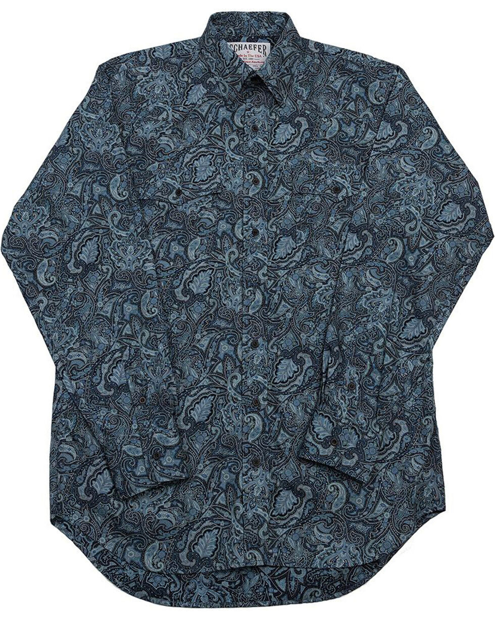 Schaefer Outfitter Men's Blue Frontier Paisley Western Button Shirt - Big 2X, Blue, hi-res