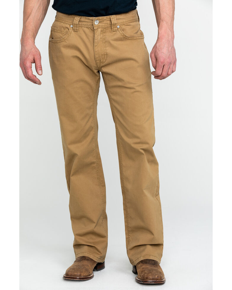 Rock & Roll Cowboy Men's Khaki W Stitch Double Barrel Straight Jeans , Beige/khaki, hi-res