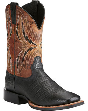 Ariat Men's Arena Rebound Elephant Print Cowboy Boots - Square Toe, Black, hi-res