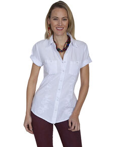 Cantina by Scully Womens White Embroidered Short Sleeve Shirt, White, hi-res