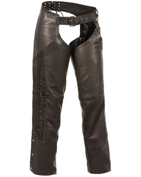 Milwaukee Leather Women's Lightweight Low Rise Crinkled Striping Chaps - 4X, Black, hi-res
