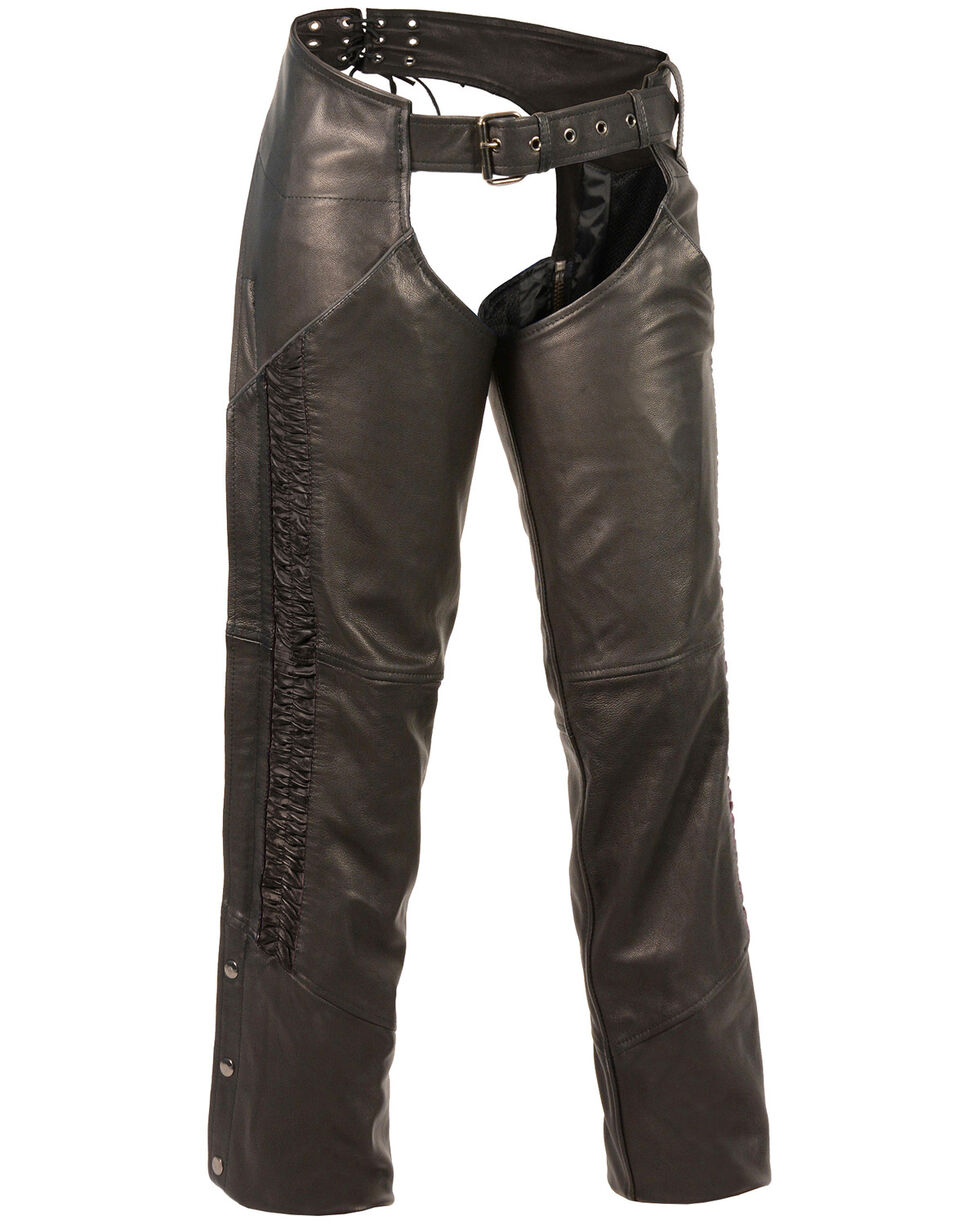 Milwaukee Leather Women's Lightweight Low Rise Crinkled Striping Chaps - 4X, , hi-res