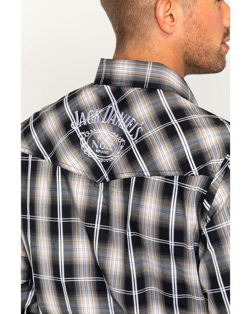 Jack Daniels Men's Embroidered Textured Plaid Long Sleeve Shirt, Black, hi-res