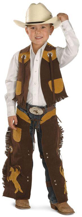 Kids' Faux Suede Vest and Chaps Set, Brown, hi-res
