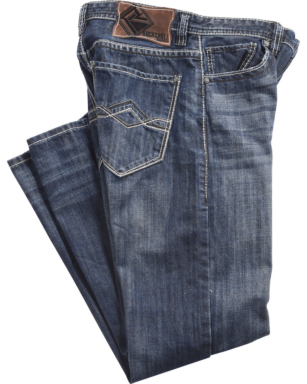 Rock & Roll Cowboy Men's Blue Cannon Jeans - Straight Leg , Blue, hi-res