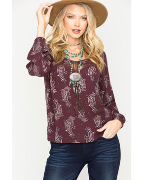 Sage the Label Women's Purple Printed Tassel Top , Purple, hi-res