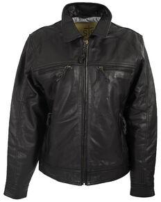 STS Ranchwear Men's The Turnback Leather Jacket , Black, hi-res