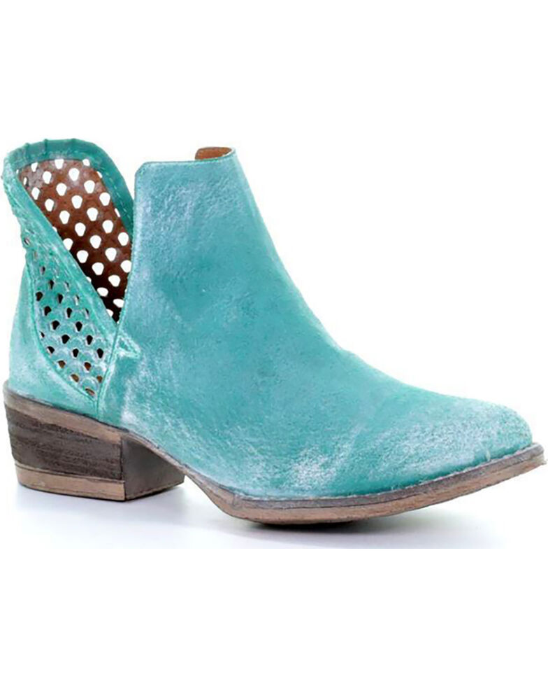 Circle G Women's Turquoise Cutout Shortie Boots - Round Toe, Turquoise, hi-res