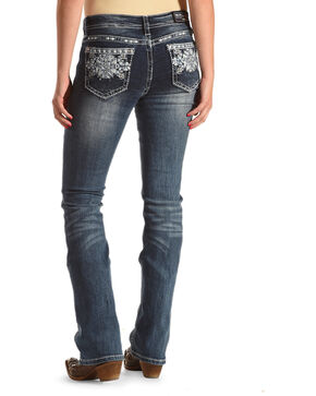 Grace in LA Women's Blue Aztec Pocket Easy Fit Jeans - Boot Cut , Blue, hi-res