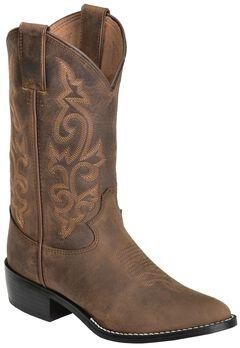 Justin Youth Boys' Basic Western Cowboy Boots - Round Toe, Bay Apache, hi-res