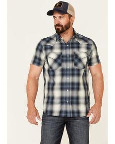 Pendleton Men's Blue Frontier Large Plaid Short Sleeve Snap Western Shirt , Blue, hi-res