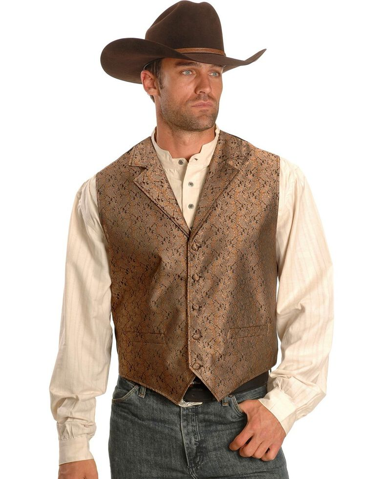 Rangewear by Scully Notched Lapel Paisley Print Vest - Big & Tall, Brown, hi-res