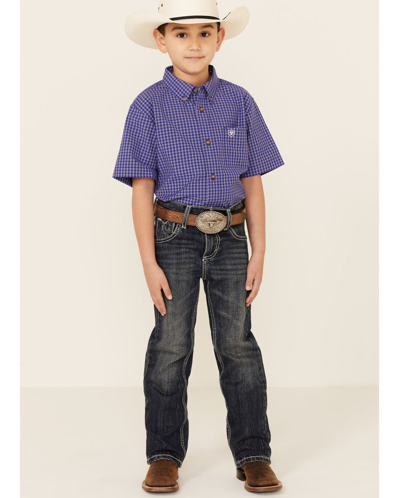 Ariat Boys' Pro Series Patton Plaid Short Sleeve Button-Down Western Shirt , Purple, hi-res
