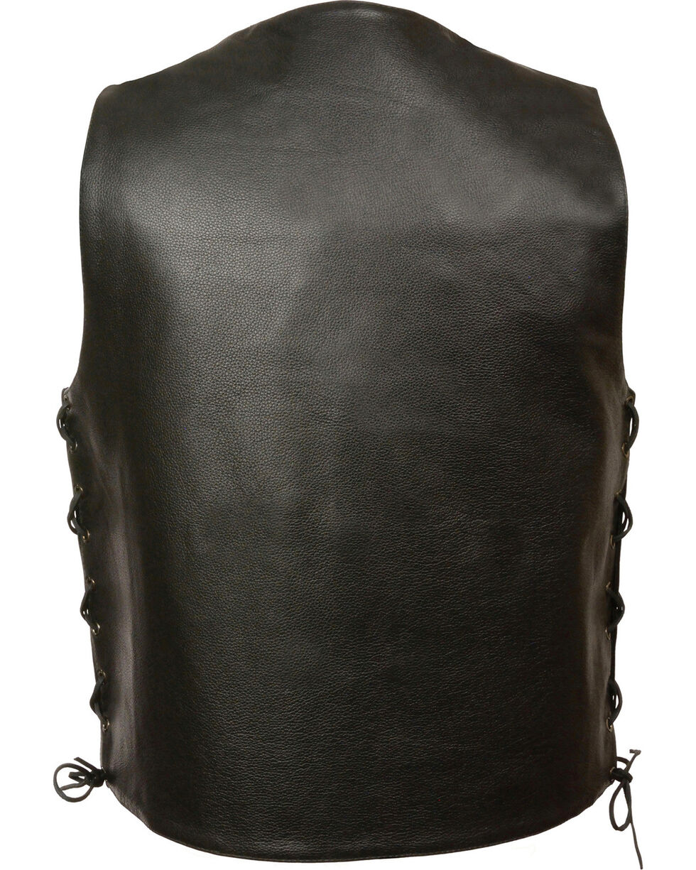 Milwaukee Leather Men's Black Side Lace Vest - Big 5X , Black, hi-res