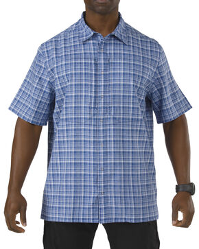 5.11 Tactical Covert Performance Short Sleeve Shirt, Blue Multi Plaid, hi-res