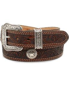 Nocona Mens San Antonio Floral Embossed Star Concho Leather Belt e557cf072b12