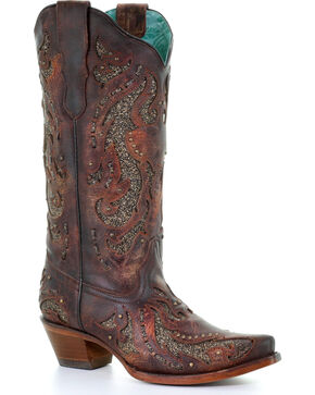 Corral Women's Cognac Glittered Inlay & Stud Boots - Snip Toe , Cognac, hi-res